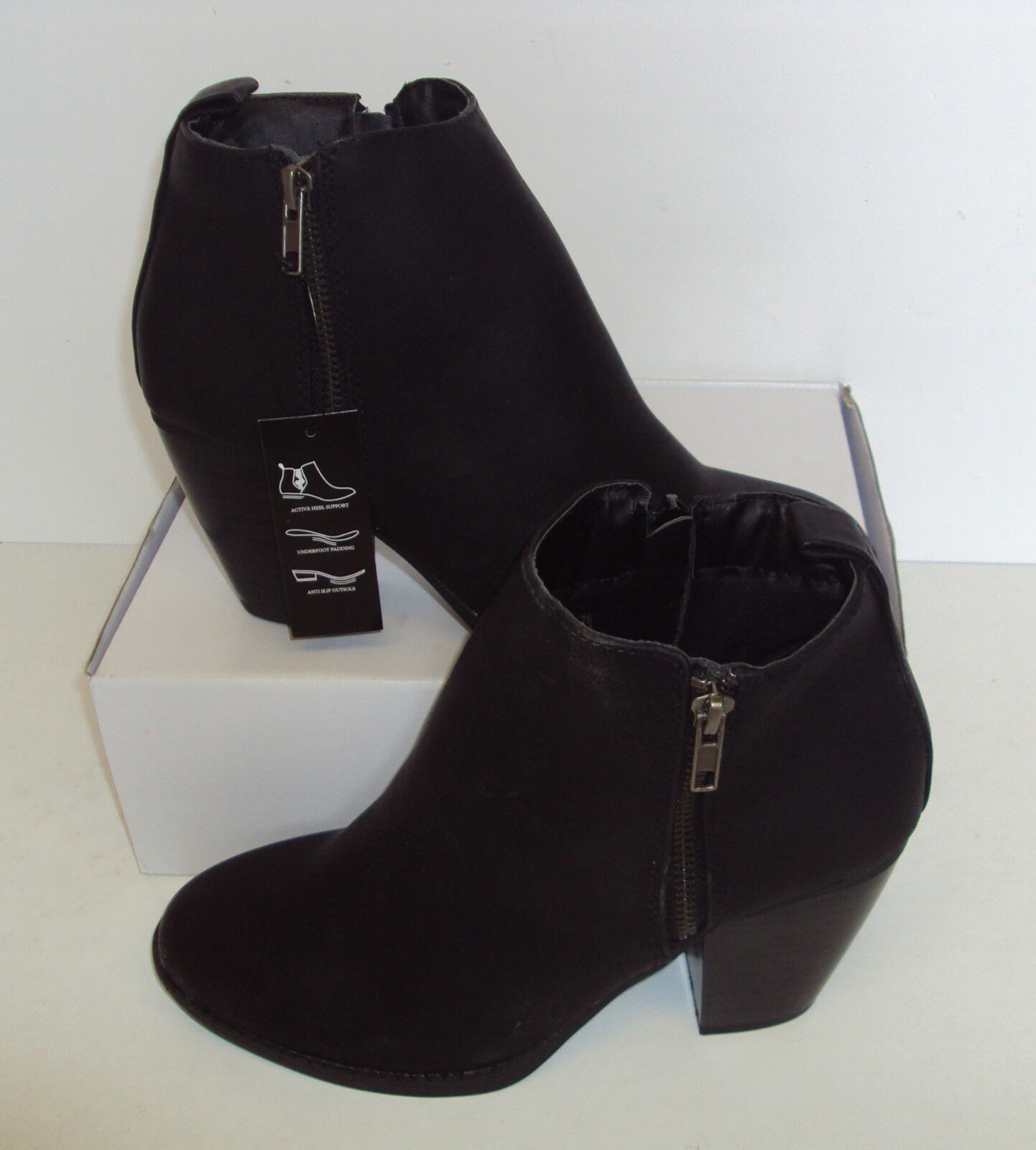 Ladies Black Ankle Boots Block Heels Chelsea Zip WIDE Shoes Sizes UK 3 & 8