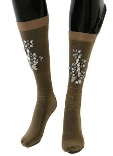 NEUF DOLCE & GABBANA Chaussettes or Stretch Floral Cristal Transparent Bas S. M