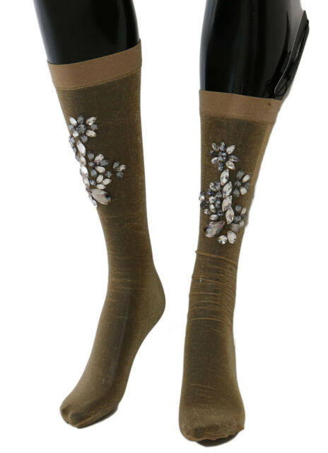 M NEW $660 DOLCE /& GABBANA Socks Black Stretch Floral Clear Crystal Stockings s