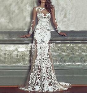 Women-Sexy-Lace-Long-Ball-Gown-Party-Evening-Cocktail-Wedding-Bridesmaid-Dresses