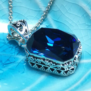Vintage-Blue-Sapphire-Pendant-Necklace-18-034-Chain-14k-White-Gold-Gift-Plated