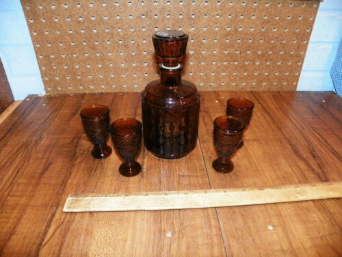 Vintage Amber Glass Decanter Set - Bottle and 4 Glasses