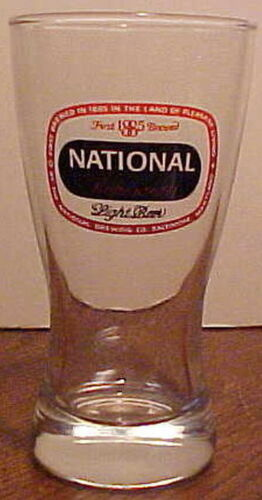 VERY GOOD GORGEOUS HEAVY DUTY 1950-1960 NATIONAL BOHEMIAN LIGHT BEER GLASS
