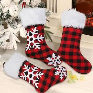 Calze-di-Natale-Rosso-Nero-Buffalo-Plaid-calza-Borsa-Regalo-Natale-ornamenti