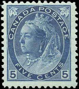 1899-Mint-H-Canada-F-Scott-79-5c-Queen-Victoria-Numeral-Issue-Stamp