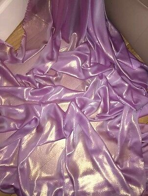 "5 MTR QUALITY PURPLE//GOLD SHIMMER CHIFFON FABRIC...58/"" WIDE £12.49"