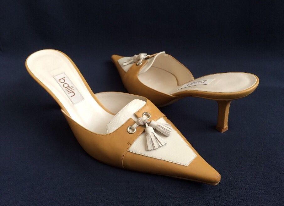 BALLIN Sz 37 Beige   Light marron and Ivory Leather Mules Heels w  Tassles