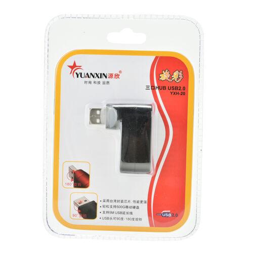 Mini 3 Port USB 2.0 Rotating Splitter Adapter Hub For PC Laptop Notebook Mac JH