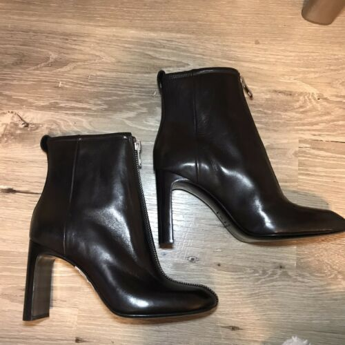 Rag /& Bone Ellis Zip Front Black Leather Ankle Boot Booties $650 Made in Italy