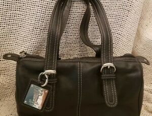 Tignanello Black Leather Handbag White