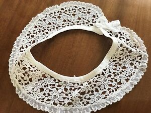 Antique-VINTAGE-White-Lace-Collar-WITH-BOW