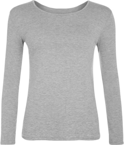 New Womens Ladies Neck Plain Long Sleeve Round Basic Stretch T-Shirt Top 6-20*RN