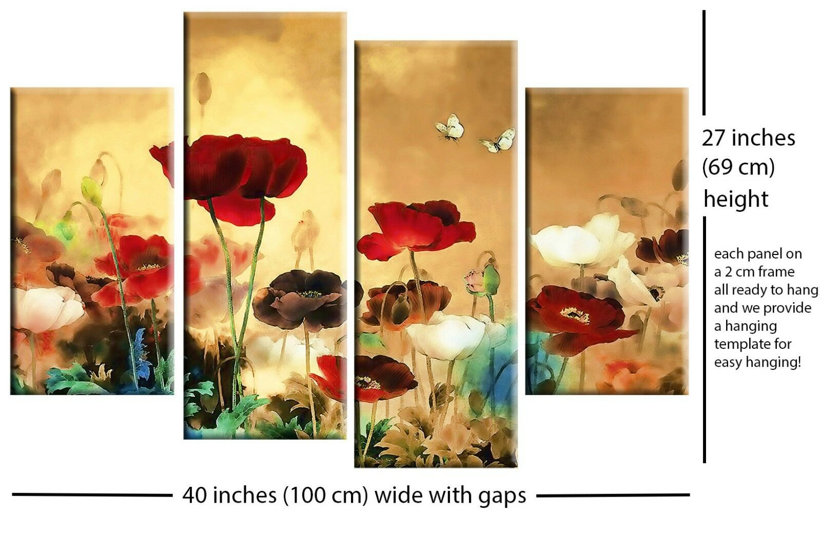 Large Chinese Floral Flower Split Multi Canvas Picture 4 Panel Wall ...