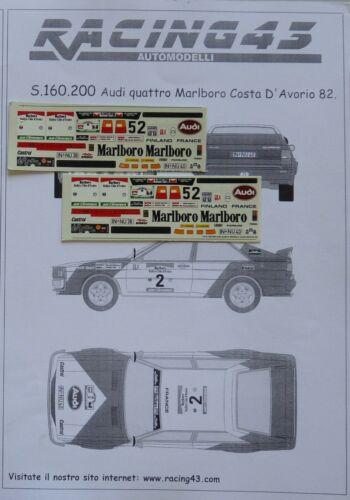 DECALS 1//43 AUDI QUATTRO MARLBORO COSTA D AVORIO 1982 S160