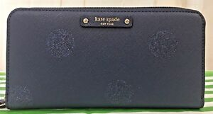 Kate-Spade-Zip-Around-Wallet-Neda-Haven-Lane-French-Navy-Glitter-Dots-WLRU2695