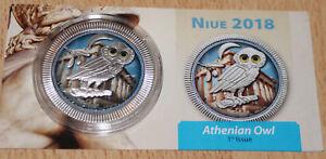 NIUE-2-DOLLARO-2018-GUFO-von-ATENE-OWL-argento-colorato