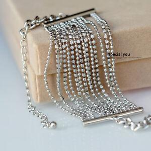 Bracelet-Argente-Multi-Rang-Fin-Chaine-Perle-Strass-Retro-CT7