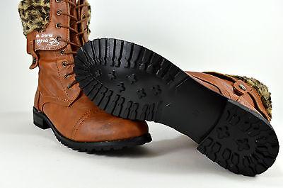 Schnürer Damen Schuhe Stiefeletten Boots Schnürschuhe Gr.36-41 Camel A.1813