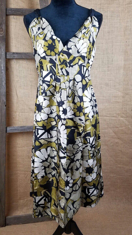 Jigsaw damen dress 12 ethnic print sleeveless knee length silk