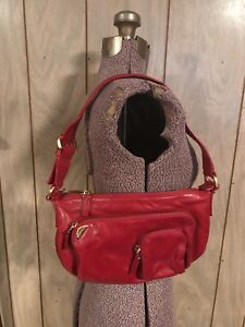 552be65758 Image is loading Francesco-Biasia-Handbag-Purse-Red-Leather-Gold-Zippers-