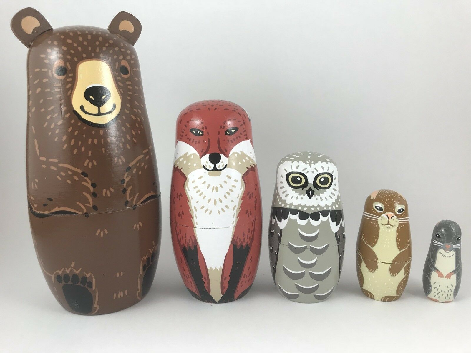 Woodland Nesting Set, Includes Bear, Fox, Doll Owl, Rabbit & Mouse. Russian Doll Fox, Set 951c08