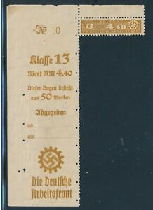Lot-Stamp-Germany-Revenue-WWII-3rd-Reich-DAF-Arbeitsfront-13-410-Sheet-Tab-MNH