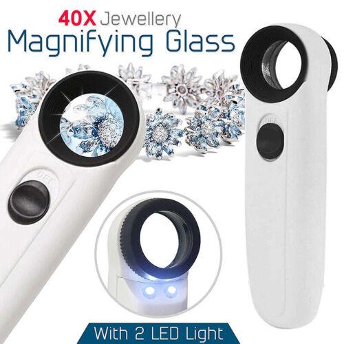 40X Vergrößerungsglas Glas Juwelier Augen Schmuck Lupe Schleife mit 2 LED Lig T