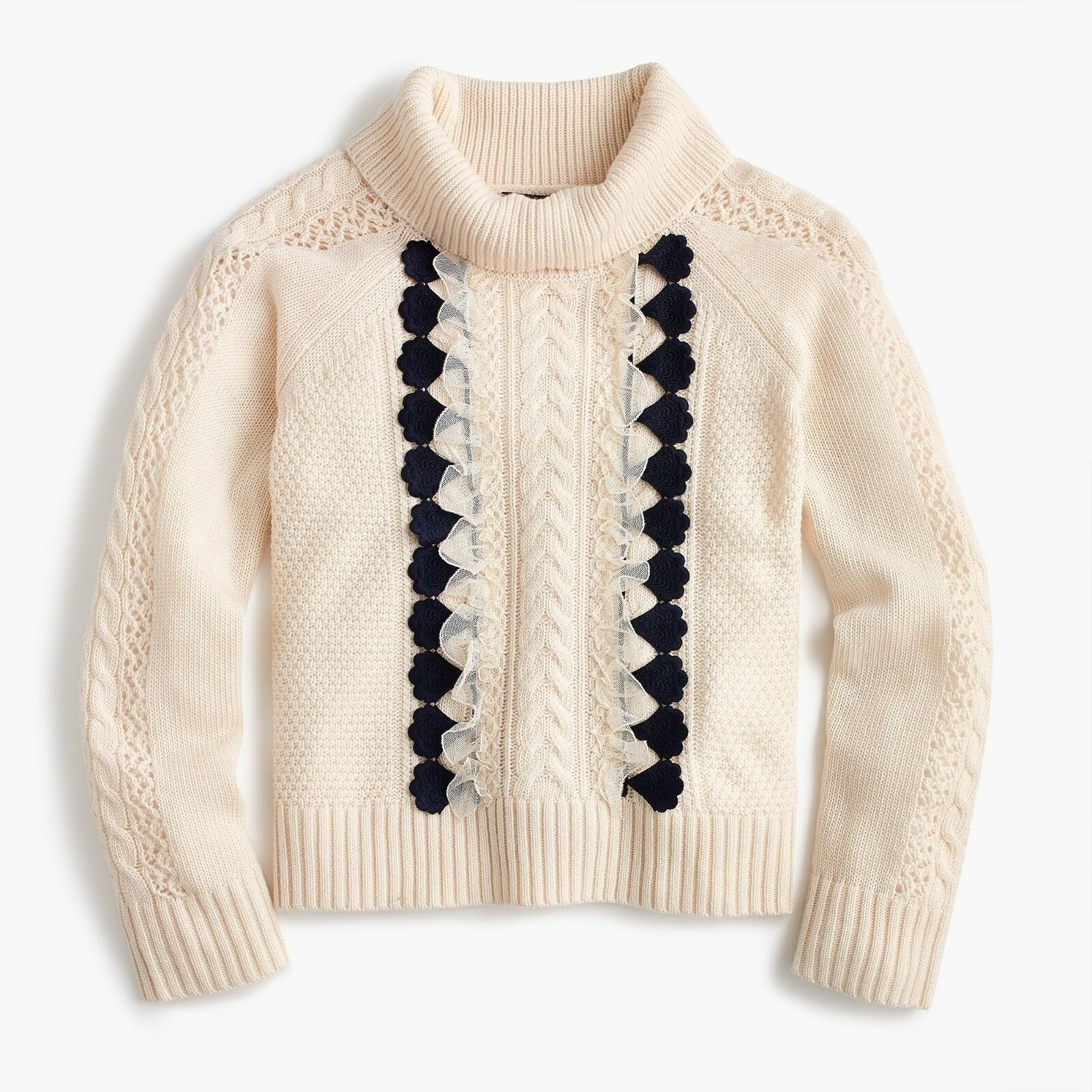 NWT J.Crew Embellished Cable Sweater Medium