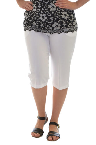 New Womens Plus Size Pants Ladies Cropped Trousers Elasticated Waist Nouvelle