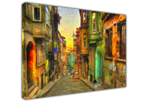 LARGE CANVAS PRINT COLOURFUL OLD STREET OIL PAINTING REPRINT WALL ART PRINTS