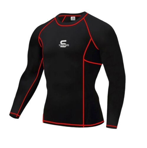 SAWANS Mens Compression Armour Base Layer Top Sleeve Thermal Gym Sports Skin Fit