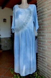 Italy Lagenlook Kleid Midi Leinen Visk Seide Batik Blau ...