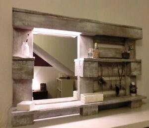 Mobile specchio soggiorno in legno massello shabby industrial ...