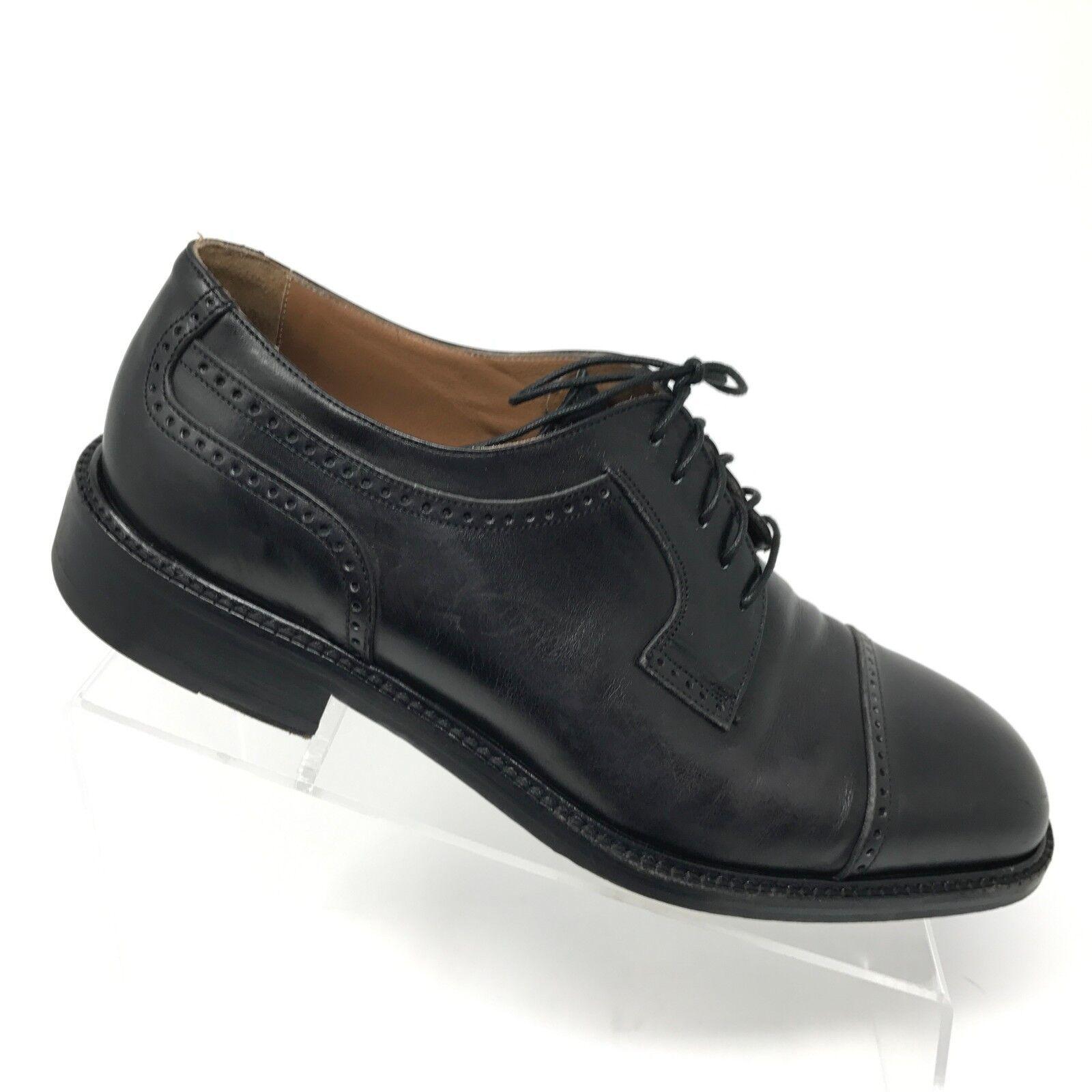 90283aa98c8df Vintage Florsheim Imperial Black Leather Cap Toe Oxfords Size 11d ...