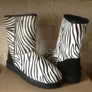 66df8a02273 Details about UGG Classic Short Exotic Zebra Black White Calf Hair Fur  Boots Size US 5 Womens