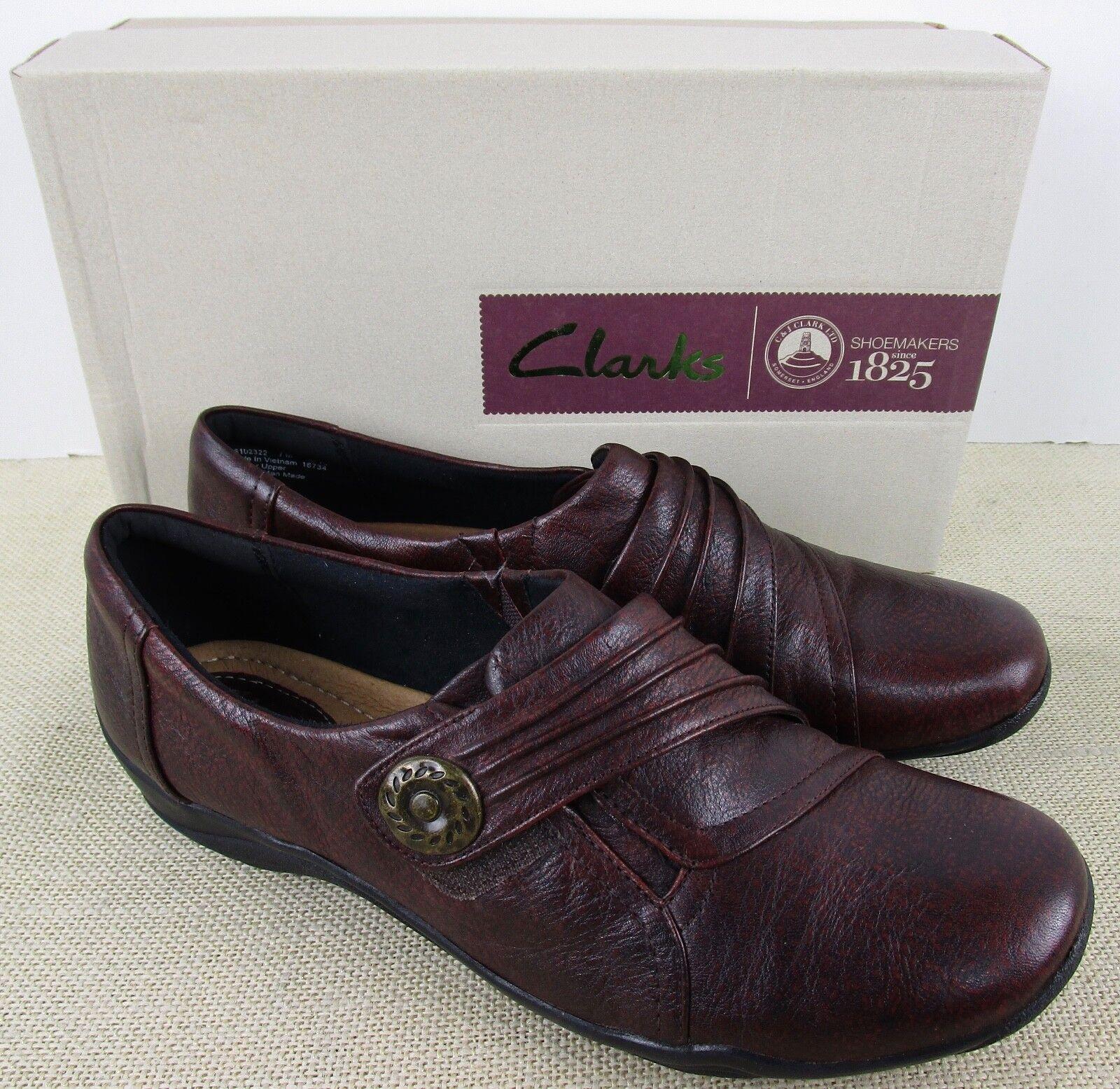 CLARKS 02322 WOMEN'S WOMEN'S KESSA ALCOVE BURGUNDY LEATHER SLIP ON Schuhe NEU