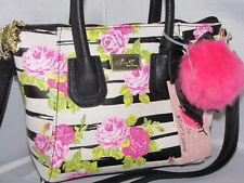 NWT Betsey Johnson DOME ROSEBUD Black & white cross-body mini satchel bag