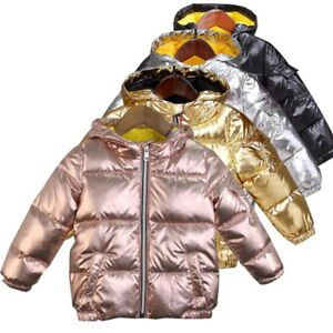 Boys-Girls-Gold-Silver-Pink-Winter-Hooded-Jacket-Down-Cotton-Waterproof-Coat