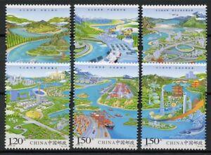Cina-2018-Gomma-integra-non-linguellato-il-fiume-Yangtze-ECONOMIA-6v-Set-Pesce-Navi-PONTI