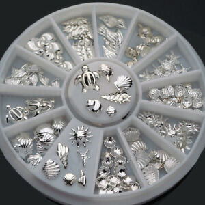 120Pcs-3D-Metal-Nail-Art-Decoration-Ocean-Accessories-Silver-Shell-Conch-Showy