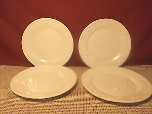 Image is loading Totally-Today-Dinnerware-All-White-Fans-&-Dots- & Totally Today Dinnerware All White Fans \u0026 Dots Design Set of 4 Salad ...
