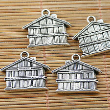5pcs tibetan silver tone 2sided house design charm pendant EF1543