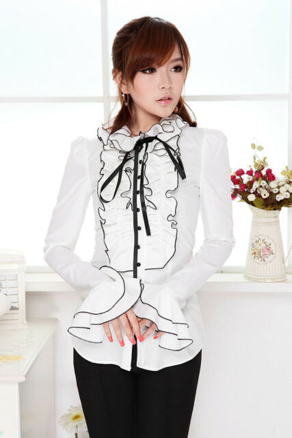 women white vintage lolita Gothic Punk Ruffle Bow Turtleneck Shirt Blouse Top