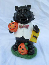 Black Cat White Jacket Pumpkin Halloween Figure Figurine Autumn Fall Home Decor