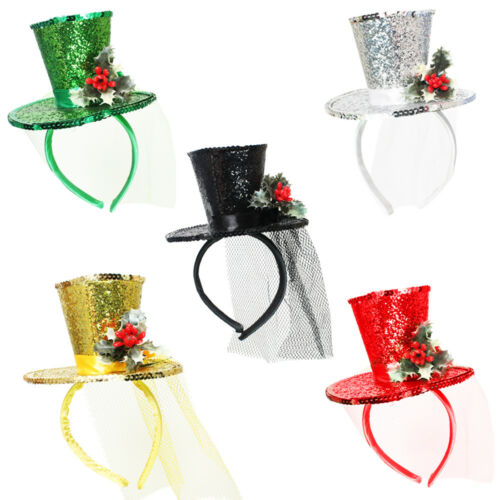 LADIES MINI GLITTER TOP HAT HEADBAND WITH CHRISTMAS HOLLY XMAS FANCY DRESS