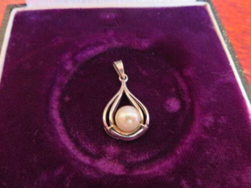 Schöner 925 Silber Anhänger Designer Klassisch Schlicht Perle Elegant Vintage