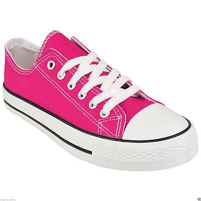 Señoras para mujer Plana Niñas plimsolls Bombas Trainer Lace Up Lona Zapatos Zapatillas
