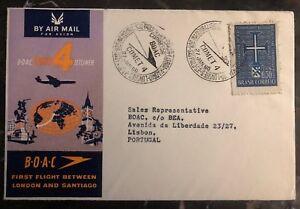 1960-Sao-Pablo-Brazil-First-Flight-Airmail-Cover-FFC-To-Lisbon-Portugal-BOAC
