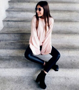 on sale c2a98 9d7f4 Details zu ZARA NUDE ROSA SOFT WEICH PULLOVER WEITE ÄRMELN JUMPER SWEATER  flared sleeves M