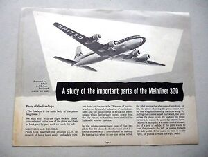 c6650f45f37 UNITED AIRLINES MAINLINER 300 IMPORTANT PARTS OF THE AIRPLANE c.1955 ...